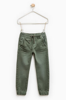 Jeans with elasticated waist and ankles., Moss Green, hi-res