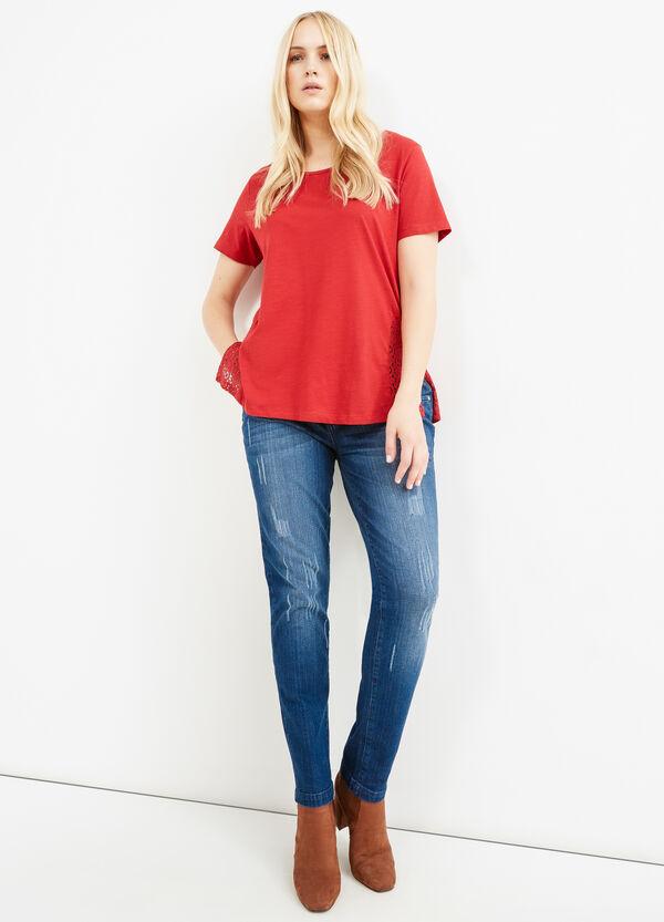 T-shirt cotone spacchi e pizzo Curvy | OVS