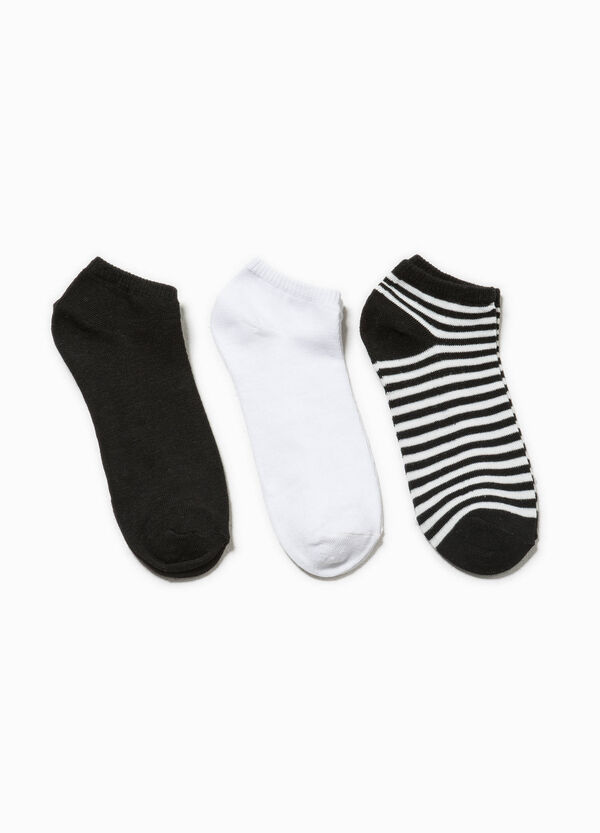 Three-pair pack solid colour and striped socks | OVS