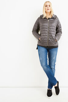 Curvy down jacket with hood, Grey, hi-res