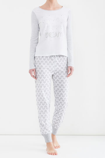 Cotton pyjama trousers with hearts, White/Grey, hi-res