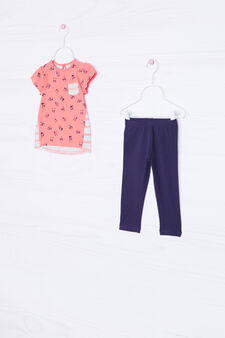 Printed stretch outfit, Coral Pink, hi-res