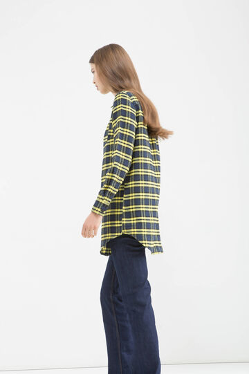 Check cotton blend long shirt, Black/Yellow, hi-res