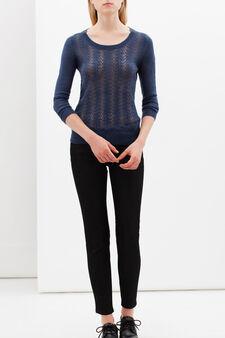 Openwork pullover, Denim Blue, hi-res