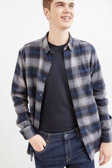 Camicia casual cotone fantasia tartan, Blu/Grigio, hi-res