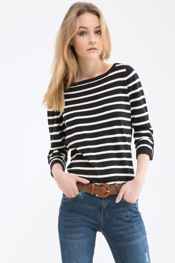 Striped cotton blend pullover, Black/White, hi-res