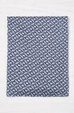 100% viscose patterned scarf, Navy Blue, hi-res
