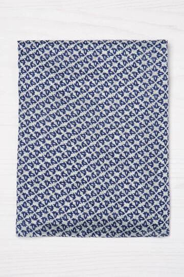 100% viscose patterned scarf, Navy Blue, hi-res