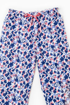 Floral cotton pyjama trousers, Blue/Pink, hi-res