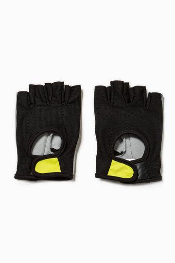Guanti senza dita con strappo, Nero/Giallo, hi-res