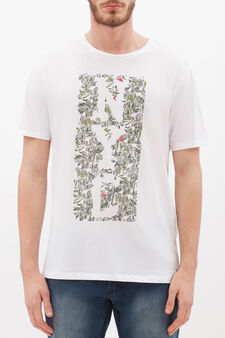 Cotton blend T-shirt with crew neck, White, hi-res