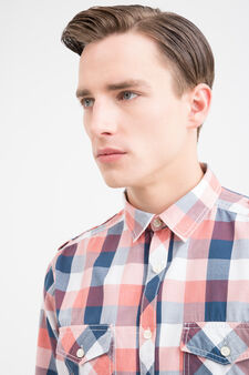 G&H check cotton shirt, Blue/Red, hi-res