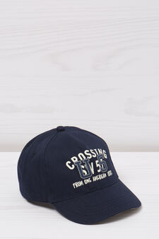 Baseball cap with printed lettering, Navy Blue, hi-res