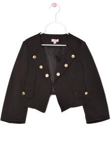 Jacket with asymmetric hem, Black, hi-res