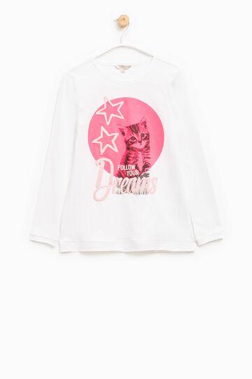 T-shirt stampata puro cotone, Bianco, hi-res