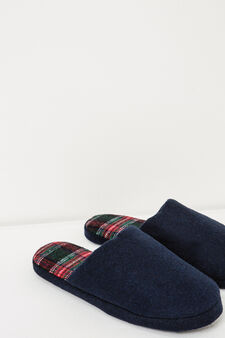Solid colour slippers with check lining, Navy Blue, hi-res