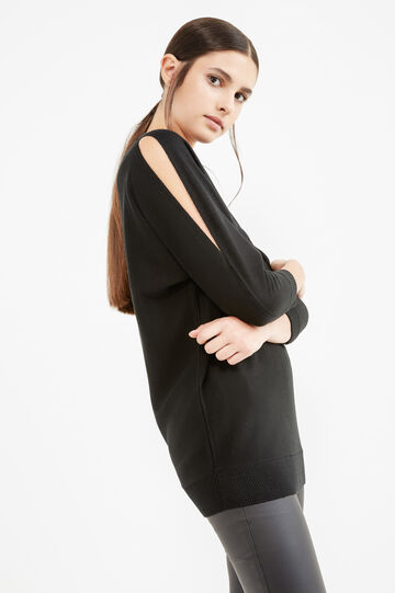 Viscose pullover with three-quarter sleeves, Black, hi-res