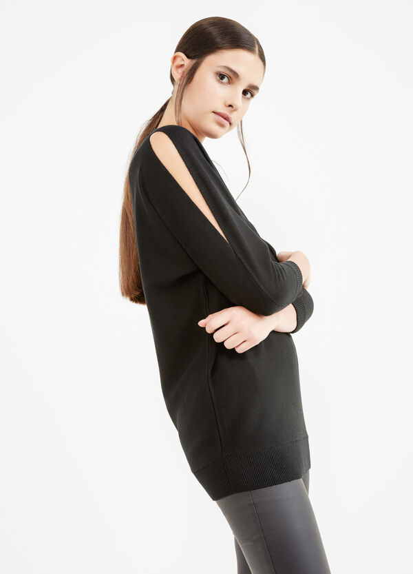 Viscose pullover with three-quarter sleeves   OVS
