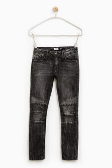 Jeans skinny fit effetto used, Nero, hi-res