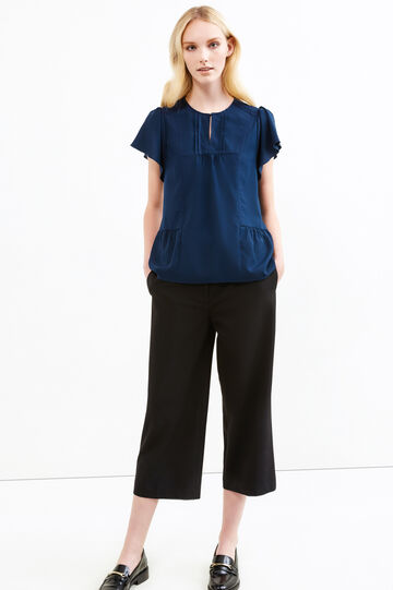 Blouse with lace and pleated motif, Navy Blue, hi-res