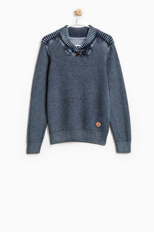 Knitted pullover with toggle, Blue, hi-res