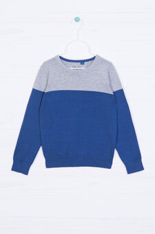 Ribbed pullover in 100% cotton, Grey/Blue, hi-res