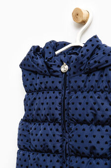 Heart pattern all-over print padded waistcoat, Blue, hi-res