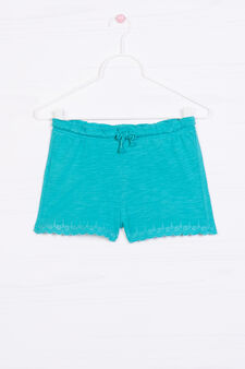 Shorts in 100% cotton with embroidery, Green, hi-res