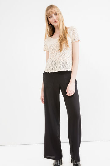 Flared trousers in 100% viscose, Black, hi-res