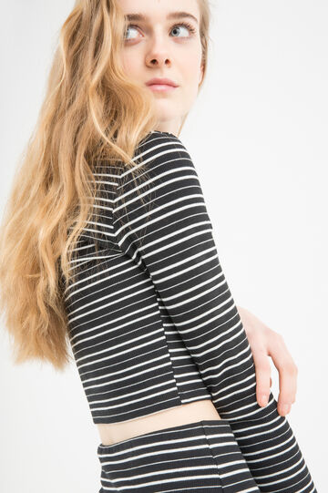 Cotton blend striped, stretch crop top, White/Black, hi-res