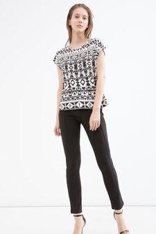 Patterned T-shirt in viscose, White/Black, hi-res