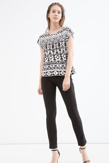 Patterned T-shirt in viscose, White/Black, hi-res