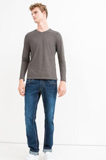 Long-sleeved T-shirt with V neck, Slate Grey, hi-res
