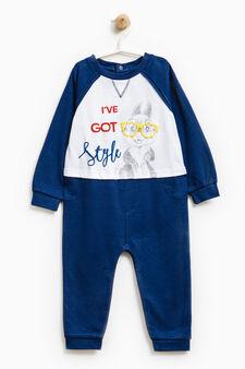 Printed sleepsuit, White/Blue, hi-res