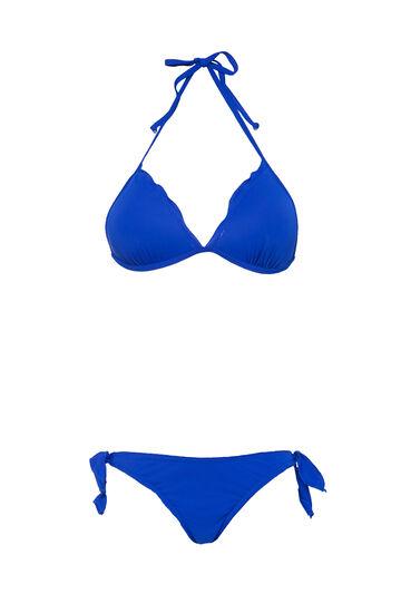 Bikini stretch con volants, Blu, hi-res