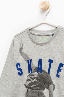 Degradé cotton T-shirt with maxi print, Grey Marl, hi-res