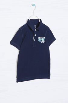 Printed polo shirt in 100% cotton, Navy Blue, hi-res