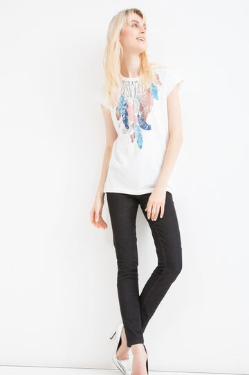 Printed T-shirt in 100% cotton, Milky White, hi-res