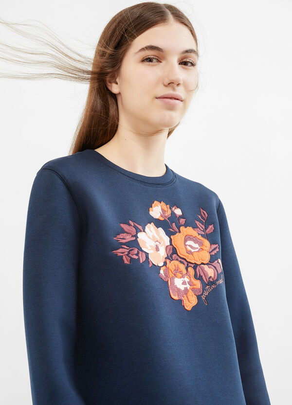 Stretch viscose sweatshirt with embroidery and patches | OVS