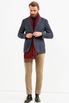 Elegant wool stretch patterned jacket, Blue, hi-res
