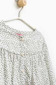 Heart pattern viscose blouse, Milky White, hi-res