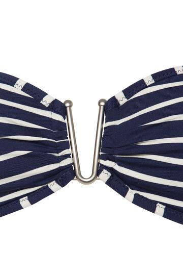 Striped pattern stretch bandeau top, White/Blue, hi-res