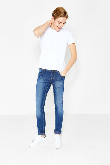 Worn-effect, skinny-fit stretch jeans with buttons, Medium Wash, hi-res