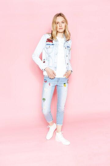 Jeans skinny fit crop stretch con patch, Blu chiaro, hi-res