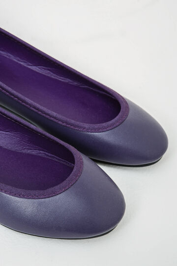 Solid colour lace-up ballerina flats, Royal Purple, hi-res