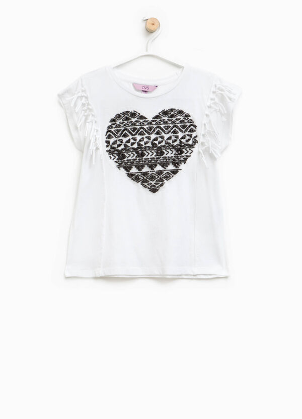 T-shirt with fringes and sequins | OVS