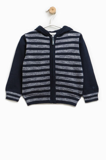 Cardigan in linen blend with striped pattern, Blue/Grey, hi-res