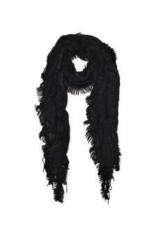 Knitted scarf with fringe, Black, hi-res
