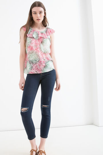 Printed viscose blend top, Pink/Green, hi-res