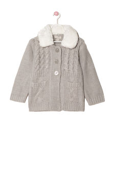 Knitted jacket with faux fur collar, Grey Marl, hi-res